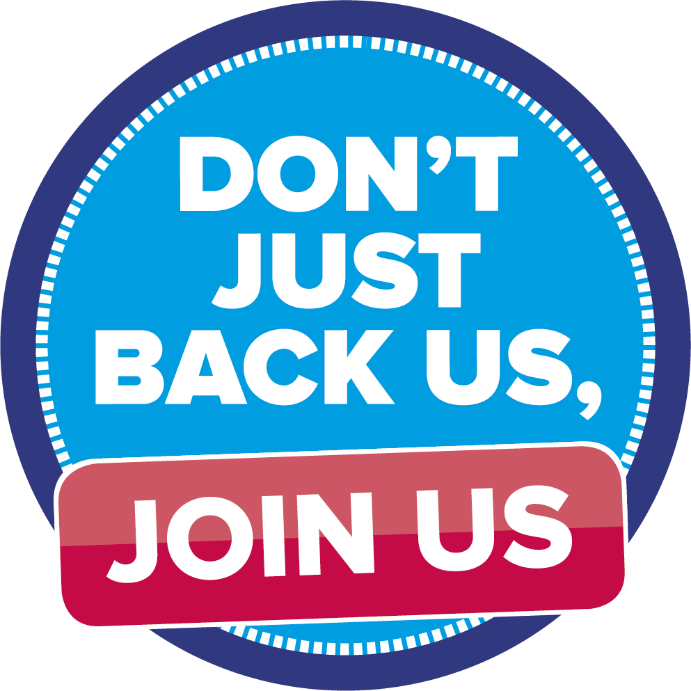 Don't just back us, join us logo